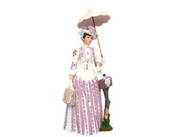 Vintage AVON 1988 Mrs. Albee Full Size Figurine Avon Presidents Club Award Doll Porcelain Lavender and Roses Applied Floral