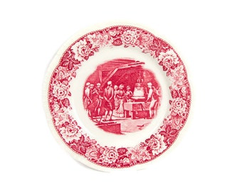 Vintage Homer Laughlin HISTORICAL AMERICA Liberty Bell Pie Plate Dessert Plate Made in USA Red Transfer Ware
