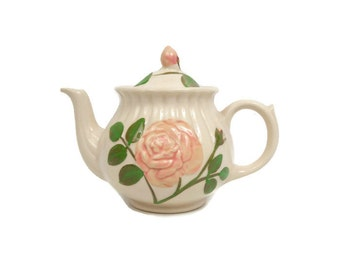 Vintage Shawnee Pottery Pink Rose Teapot Embossed Design USA Tea Pot Kettle Tea Party Coffee