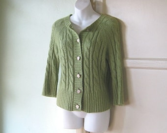 Angora Blend Chunky Chartreuse Cable Cardigan; Small - '80s Chunky 3/4 Sleeve Green Button Up Sweater