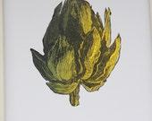 Artichoke engraving original print gold and green