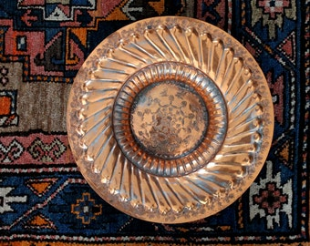 Boho stamped copper tone vintage bowl / tribal eclectic style home decor / gypsy inspired decor / Egyptian stamped hammered metal bowl