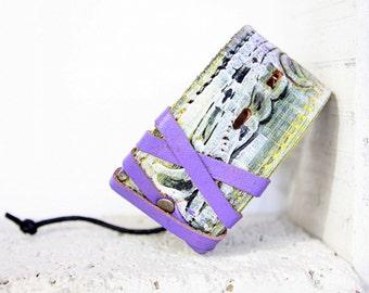 Stylish Leather Cuff Bracelet For Women | Boho Leather Bracelet | Leather Accessories | Upcycled Belt Bracelet | Painted Leather | Purple