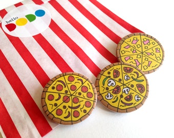 Pizza Badges, Fun Food Pin Back Button Badges, Pizza Party, Party Bag Fillers, Cute Pizza Badges, hello DODO Badge, Pepperoni Pizza, Veggie