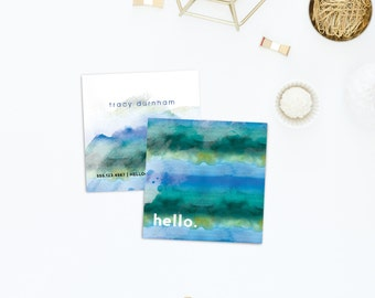 Square Business Card Template - Square Moo Photoshop Template - Square Business Card - Watercolor Hello - Branding - Marketing BC034