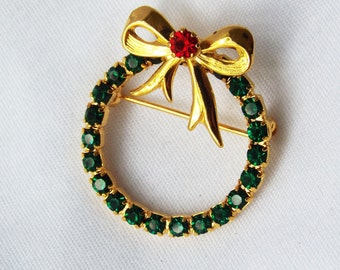 Vintage Rhinestone Holiday Wreath Gold Green and Red with a Bow