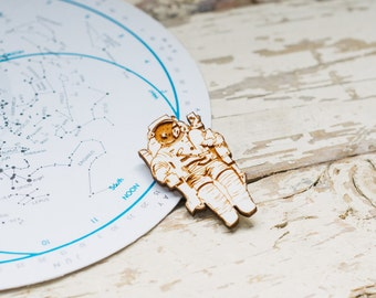 Astronaut Wooden Brooch, Laser Cut Space Pin, Plywood Jewellery
