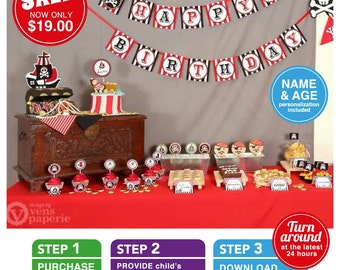 Red Pirate Birthday Party Package Personalized FULL Collection Set - PRINTABLE DIY - PS831CA1x