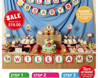 Farm Barn Yard Baby Shower Package Personalized FULL Collection Set - PRINTABLE DIY - BS809CA1x