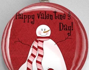 Interchangeable Magnetic Happy  Valentine's Day Snowman #28 Pendant Necklace Handmade