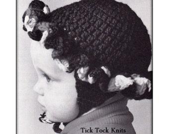 No.556 Baby Hat Crochet Pattern PDF Vintage - Ruffled Earflap Hat - Size 6 - 12 months 1 Year - Ear Flap Bonnet Retro Baby Crochet Pattern