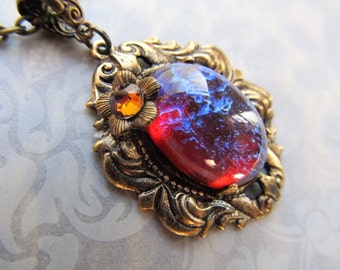 Dragon's Breath Necklace Gothic Opal Necklace Mexican Fire Opal Necklace Art Deco Necklace Art Nouveau Necklace 1920s Brass Necklace- Lava