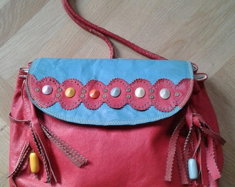 "1970/80s,  Fringes and Beads, Slouchy bag, Folk Purse, ""V VALENTINO"", Made in Italy, Vintage."