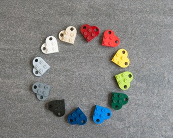 Custom Engraved Heart LOVE Keychain Pair made from LEGO Bricks