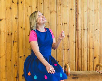 Pinafore Dress Royal Blue Ladies - with pink, orange and blue graphic raindrop pattern (RAIN). Women's Sizes XS-XL. Limited Edition Clothing