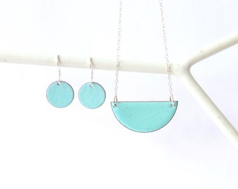 Enamel Jewellery Set necklace and earrings in robins egg blue - turquoise enamel earrings and necklace - stunning enamel jewelry for her