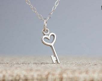 Tiny key necklace - Small Silver Key in Sterling Silver - Key to my heart - Tiny skeleton key necklace - Key charm necklace - Gift for her