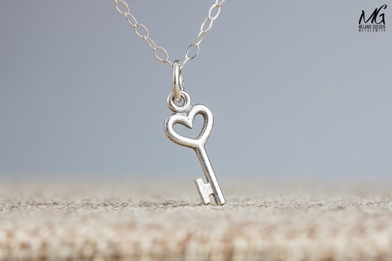 Tiny Key Necklace - Small Silver Heart Shaped Key in Sterling Silver
