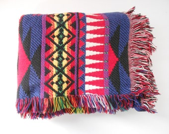Woven Boho Blanket - Indian Blanket - Tribal Blanket - Festival Throw - Red Blue Yellow Green Black