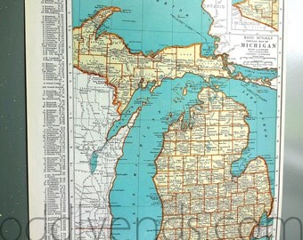 Vintage Michigan Map, 1939 Original Atlas Antique, Lansing, Grand Rapids, Detroit, Traverse City