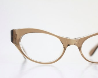 Vintage 50's Fawn Brown Wrap Cat Eye Eyeglasses Sunglass Frames