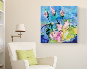 "Abstract canvas art, acrylic painting, 20"" x 20"", blue, wall decor, contemporary art, large abstract painting, floral artwork, pink art"