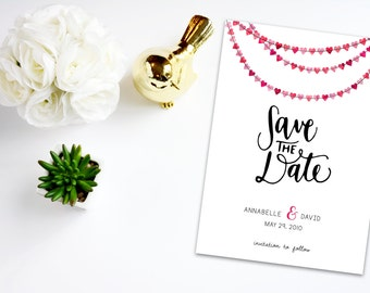 Digital Save the Date Hearts Garland