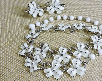 Vintage Necklace and Earrings White Enamel signed Coro NOS Demi Parure