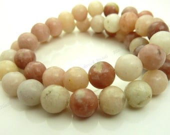 8mm Pink Lepidolite Natural Gemstone Round Beads - 16 Inch Strand - Opaque, Rustic Beads - BC18