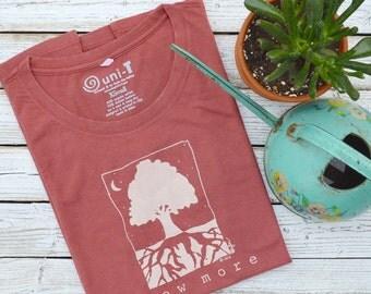 GROW MORE Womens Tshirt, Eco-friendly Bamboo Clothing, Tree T shirt, Gardening Tee, Environmental T-shirt by Uni-T