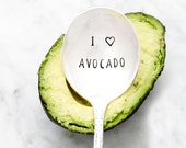 I Love Avocado. Hand Stamped Spoon by Milk & Honey for Food Lover Gift Idea. Guacamole Spoon.