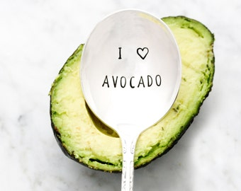 I Love Avocado. Hand Stamped Spoon for Food Lover Gift Idea. Guacamole Spoon. Original Milk & Honey ® Design.