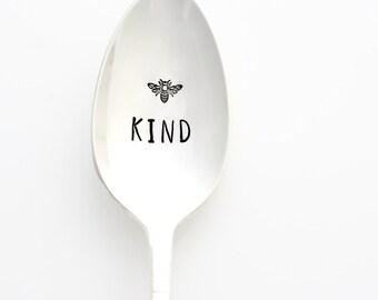 Be Kind (BEE Kind), stamped vintage coffee spoon. Custom silverware with inspirational sayings on spoons by Milk & Honey.