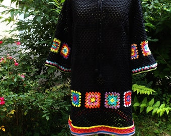 Crochet tunic dress with 3/4 sleeves hippie boho patchwork retro flower power vintage look READY TO SHIP