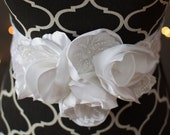 Bridal Sash -White bridal sash with vintage bridal lace appliqués, and handcrafted blooms