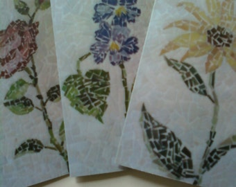 Unique Prints Set of Three Mosaic Floral Blank Greeting Cards Prints from my Original Designs and Envelopes