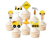 Construction cupcake toppers, construction party decor, dump truck party toppers, outdoor party, trucks cake decorations, boy birthday