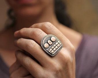 Bronze and Silver Calavera ring 2