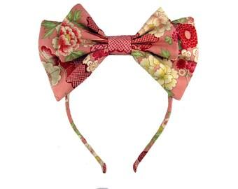 Lolita bow headbow pink wa-loli yukata print