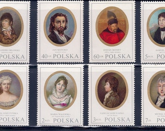 Portrait Miniatures of Ladies & Gentlemen -Vintage Stamps - Poland 1970 - Fischer 1870-1877 | Michel 2017-2024 | Scott 1748-1755