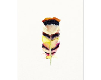 8.5x11 Watercolor Feather Art.  Tribal Feather Print.