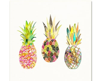 Pink Pineapple Art Print. Pineapple Watercolor Wall Art.  Pineapple Decor. Large Kitchen Wall Art. 16x 20 Pink Pineapple. Tropical Wall Art.