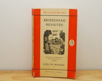 Brideshead Revisted by Evelyn Waugh, vintage Penguin book, 1950s paperback, orange cover