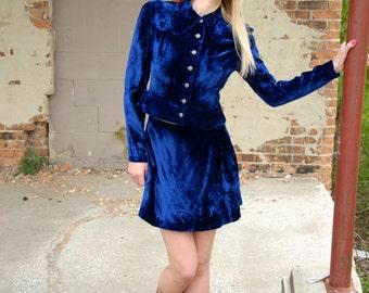 Blue velvet mini dress set, high-waist skirt, jacket top, collar peplum 1970s XS S petite