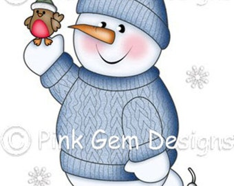 Digi Stamp 'Chilly Ice Skating' Snowman.Makes Cute Christmas Cards