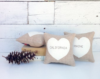 State Pillow, Home State Pillow, State Heart, Personalized State, Rustic Home Decor, Moving Away Gift, Rustic Pillows, Little Pillow