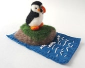 Needle Felted Puffin on a Wool Rock