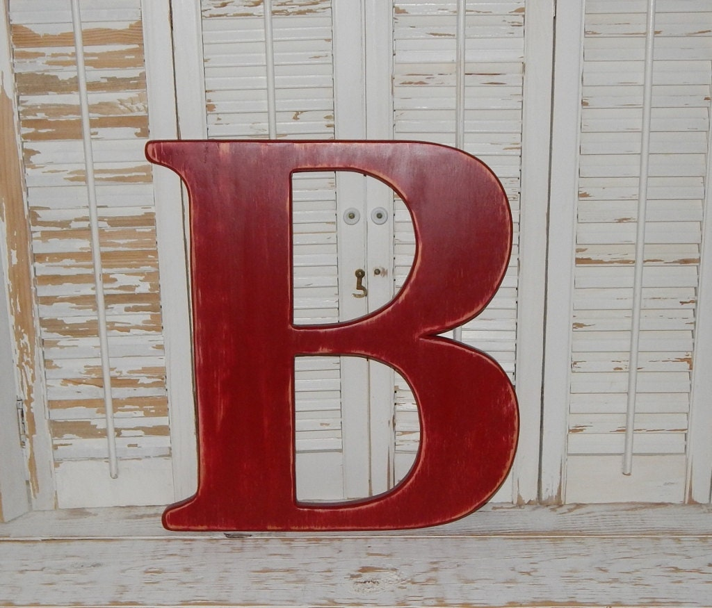 Large wood letter b or any letter distressed 18 inch wood for Big wooden letter b