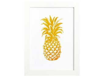 Gold Pineapple, Pineapple Print, Gold Pineapple Print, Pineapple Love, Gold Foil Pineapple Print Pineapple Decor Pineapple Art Welcome Decor