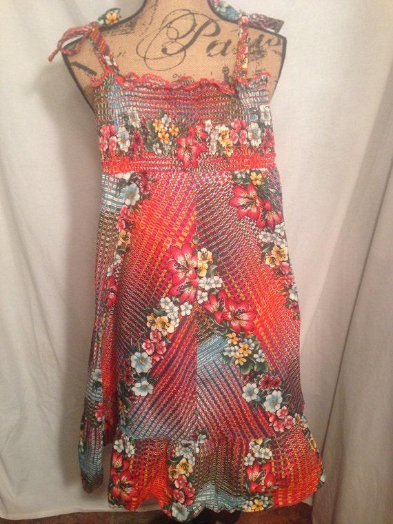 Vintage Girls Floral Smocked Dress d59